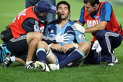 Kurtis Haiu down injuried. Investec Super Rugby - Blues v Waratahs, Eden Park, Auckland, New Zealand. Saturday 16 April 2011. Photo: Clay Cross / photosport.co.nz