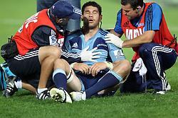 Kurtis Haiu down injuried. Investec Super Rugby - Blues v Waratahs, Eden Park, Auckland, New Zealand. Saturday 16 April 2011. Photo: Clay Cross / photosport.co.nz