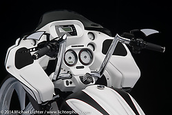 """Paul Yaffe's 30"""" Black and White Twin Cam Bagger. Photographed by Michael Lichter on January 11, 2014. ©2014 Michael Lichter"""