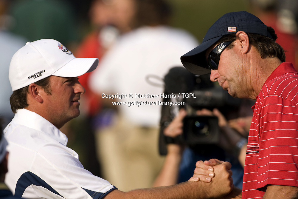 Graeme McDOWELL (EUR) with US captain Paul AZINGER (USA) during Singles 2008 Ryder Cup Matches, Valhalla, Louisville, Kentucky, USA.