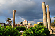 Roman ruins and the modern city of Tyre, Lebanon