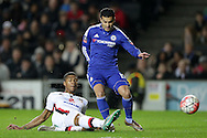 Jordan Spence of MK Dons tackles Pedro of Chelsea. The Emirates FA cup, 4th round match, MK Dons v Chelsea at the Stadium MK in Milton Keynes on Sunday 31st January 2016.<br /> pic by John Patrick Fletcher, Andrew Orchard sports photography.
