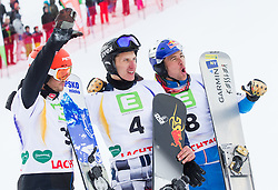 Second placed Zan Kosir of Slovenia, winner Andrey Sobolev of Russia and third placed Benjamin Karl of Austria after the Men's Parallel Giant Slalom at FIS World Championships of Snowboard and Freestyle 2015, on January 23, 2015 at the WM Piste in Lachtal, Austria. Photo by Vid Ponikvar / Sportida