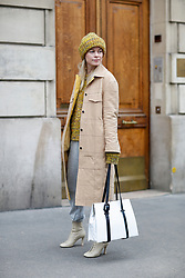 Street style, Thora Valdimars arriving at Altuzarra Fall-Winter 2018-2019 show held at La Coupole, in Paris, France, on March 3rd, 2018. Photo by Marie-Paola Bertrand-Hillion/ABACAPRESS.COM