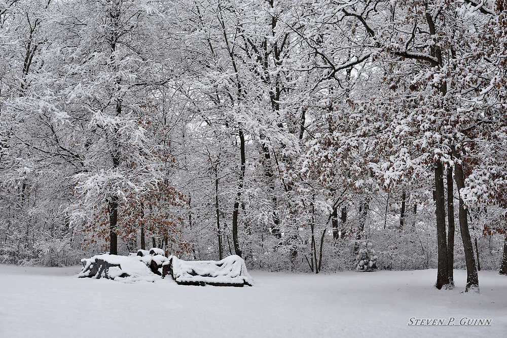 """I captured this landscape image in Demotte, Indiana on February 17th, 2018. When I captured this landscape, there was about 2 feet of snow that fell from the night before to this evening. What really caught my eye was how much snow, and even some ice, stuck to almost all of the branches and leaves in the scene. What amazed me the most about this scene was how the snow on the branches and leaves made the forest look like it was made of ice. Another detail that I like is how the parts of the trees that remained uncovered by snow provided a contrasting element that adds random patterns to the image.  <br /> <br /> Printed on Hahnemühle German Etching paper. Limited to 100 productions per size.<br /> <br /> Framed prints are available in 18"""" x 12"""", 24"""" x 16"""", 30"""" x 20"""", 36"""" x 24"""", 45"""" x 30"""", and 60"""" x 40"""" sizes."""