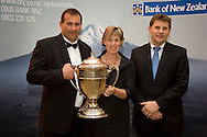 Kristen and Dean Nikora with Will Purvis from the BNZ. Winners of the Ahuwhenua Trophy - Bank of New Zealand Maori Excellence in Farming Award ceremony held at the Rotorua Event Centre, Rotorua, New Zealand, June 06 2008.<br /> <br /> MANDATORY CREDIT ©ALPHAPIX/John Cowpland.<br /> <br /> www.alphapix.co.nz<br /> info@alphapix.co.nz<br /> phone: 0272 533464