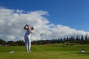 January 10 2016: Rickie Fowler tees off on number fourteen during the Final Round of the Hyundai Tournament of Champions at Kapalua Plantation Course on Maui, HI. (Photo by Aric Becker)