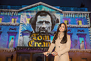 NO FEE PICTURES<br /> 30/12/15 Nadia Forde switches on the Luminosity 3D animations on the Department of Foreign Affairs on St Stephens Green, part of the New Years Festival in Dublin. nyf.com running from 30th Dec to 1st Jan in Dublin. Picture: Arthur Carron