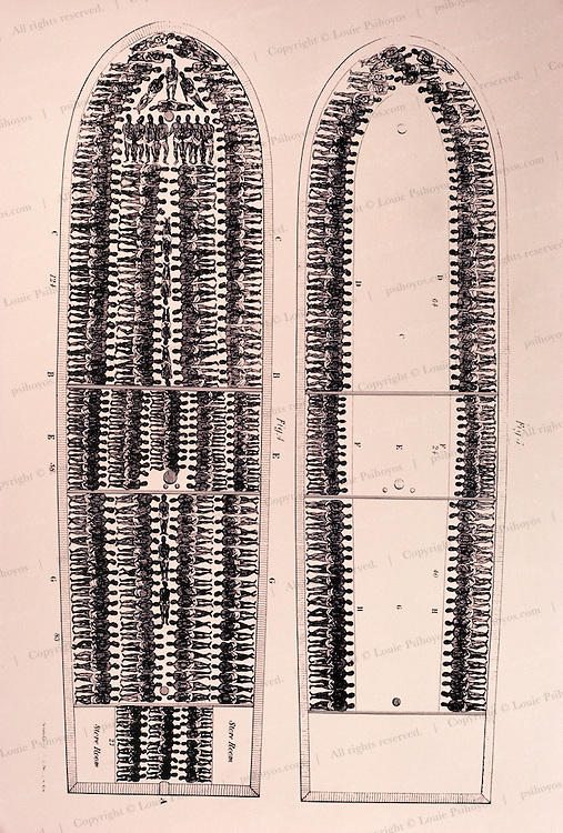 A detailed drawing of a slave ship.