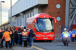 13th September 2017 - UEFA Champions League - Group E - Liverpool v Sevilla - Liverpool's team bus arrives at Anfield with a police escort - Photo: Simon Stacpoole / Offside.