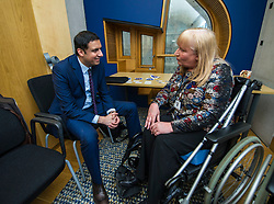 Pictured: Anas Sarwar discusses the health issues associated with the mesh with petitioner Elanine Holmes.<br /> Thousands of Scottish women have been fitted with polypropylene transvaginal mesh to treat pelvic organ prolapse or stress urinary incontinence. As a result women in every Scottish constituency have been severely injured or permanently disabled following this procedure, some have lost organs, many their careers and their relationships.  The women and their families  are asking MSPs to sign a pledge <br /> <br /> Ger Harley | EEm 16 March 2017