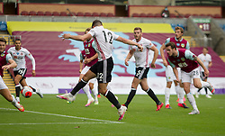 John Egan of Sheffield United scores his sides first goal - Mandatory by-line: Jack Phillips/JMP - 05/07/2020 - FOOTBALL - Turf Moor - Burnley, England - Burnley v Sheffield United - English Premier League