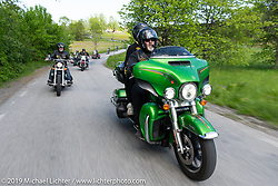Perra Pettersson riding his Harley-Davidson Electra Glide Ultra on a Twin Club ride out from the club house in Norrtälje after their annual Custom Bike Show. Sweden. Sunday, June 2, 2019. Photography ©2019 Michael Lichter.