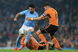 24th October 2017 - Carabao Cup (4th Round) - Manchester City v Wolverhampton Wanderers - Ilkay Gundogan of Man City battles with Danny Batth of Wolves - Photo: Simon Stacpoole / Offside.