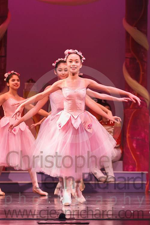 Students of the Payne Academy of Performing Arts and Woodlands Ballet Ensemble on stage in the Dress Rehearsal of The Nutcracker.<br /> <br /> November 2017<br /> The Woodlands College Park High School.<br /> The Woodlands, Texas