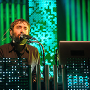COLUMBIA, MD - June 18th, 2013 - Jimmy Tamborello of the Postal Service performs at Merriweather Post Pavilion in Columbia, MD on their 10th Anniversary Give Up tour. (Photo by Kyle Gustafson)