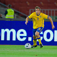 Sweden's Anders Svensson leads the ball during the UEFA EURO 2012 Group E qualifier Hungary playing against Sweden in Budapest, Hungary on September 02, 2011. ATTILA VOLGYI