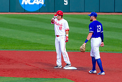NORMAL, IL - May 01: Jack Butler stands on the bag at 2nd after hitting a double with Dane Tofteland covering during a college baseball game between the ISU Redbirds and the Indiana State Sycamores on May 01 2019 at Duffy Bass Field in Normal, IL. (Photo by Alan Look)