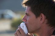 Jan Bos komt bij na zijn race in de VeloX2. In de buurt van Battle Mountain, Nevada, strijden van 10 tot en met 15 september 2012 verschillende teams om het wereldrecord fietsen tijdens de World Human Powered Speed Challenge. Het huidige record is 133 km/h.<br /> <br /> Jan Bos is recovering after his race. Near Battle Mountain, Nevada, several teams are trying to set a new world record cycling at the World Human Powered Vehicle Speed Challenge from Sept. 10th till Sept. 15th. The current record is 133 km/h.