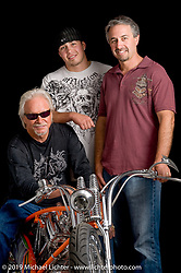 """Arlen Ness with his son Cory (rt) and grandson Zach with his S&S 124"""" powered custom he built for the S&S 50th Anniversary show. Photo by Michael Lichter. June 30, 2008, in La Crosse, WI. ©2008 Michael Lichter"""
