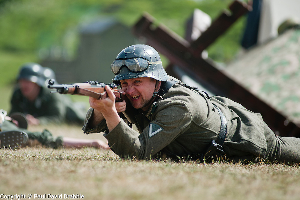 Reenactor portrays a panzer grenadier from the elite German Großdeutschland Division during abattle Reenactment at Fort Paull near Hull May 2011 <br /> Image © Paul David Drabble