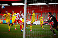 during the EFL Sky Bet League 2 match between Stevenage and Walsall at the Lamex Stadium, Stevenage, England on 20 February 2021.