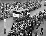 """17/03/1960<br /> 03/17/1960<br /> 17 March 1960<br /> NAIDA Industrial St. Patrick's Day Parade, Dublin. Picture shows the Wills 'Showmobile""""."""
