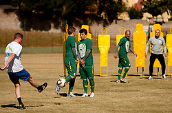 Rok Tamse vs Matjaz Krajnik and Ales Zavrl of NZS during the friendly match between Slovenian football journalists and officials of Slovenian football federation at  Hyde Park High School Stadium on June 16, 2010 in Johannesburg, South Africa.  (Photo by Vid Ponikvar / Sportida)