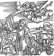 Isaac being saved from sacrifice by Abraham by appearance of ram caught in the thicket.  From 'Prodigiorum ac ostentorum chronicon' Conrad Lycosthenes (Basel 1557).  Woodcut.