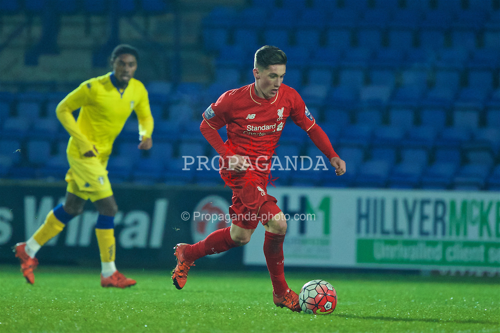 BIRKENHEAD, ENGLAND - Tuesday, January 19, 2016: Liverpool's Harry Wilson in action against Leeds United during the Under-21 Premier League Cup match at Prenton Park. (Pic by David Rawcliffe/Propaganda)