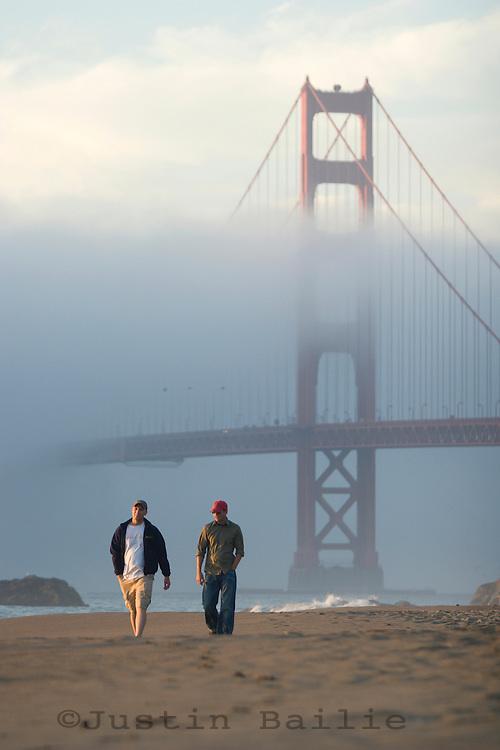 Baker Beach on a weekend afternoon. Presidio of San Francisco. Golden Gate National Recreation Area. San Francisco,  CA