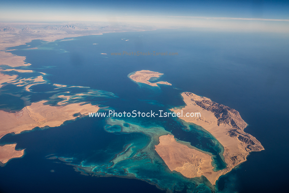 Aerial view of Saudi Arabia and the straits of Tiran between the gulf of Aqaba Red Sea and the Indian Ocean