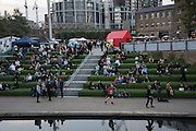 Granary Sq, King's Cross, during Design exhibition,  London, 21 September 2016