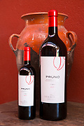 Bottles of red wine Pruno at Finca Villacreces, Ribera del Duero bodega wine production by River Duero, Navarro, Spain
