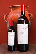 Bottles of red wine Pruno at Finca Villacreces, Ribera del Duero bodega wine production by River Duero, Navarro, Spain