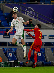 CARDIFF, WALES - Sunday, November 15, 2020: Republic of Ireland's Dara O'Shea wins a header from Wales' Neco Williams during the UEFA Nations League Group Stage League B Group 4 match between Wales and Republic of Ireland at the Cardiff City Stadium. Wales won 1-0. (Pic by David Rawcliffe/Propaganda)