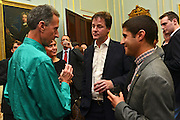 © Licensed to London News Pictures. 11/09/2012. London, UK L-R Peter Tatchell, Nick Clegg, Ben Cohen.  Nick Clegg makes a speech at a reception to celebrate the Governments Consultation on Gay Marriage. Today, 11 September 2012. Photo credit : Stephen Simpson/LNP