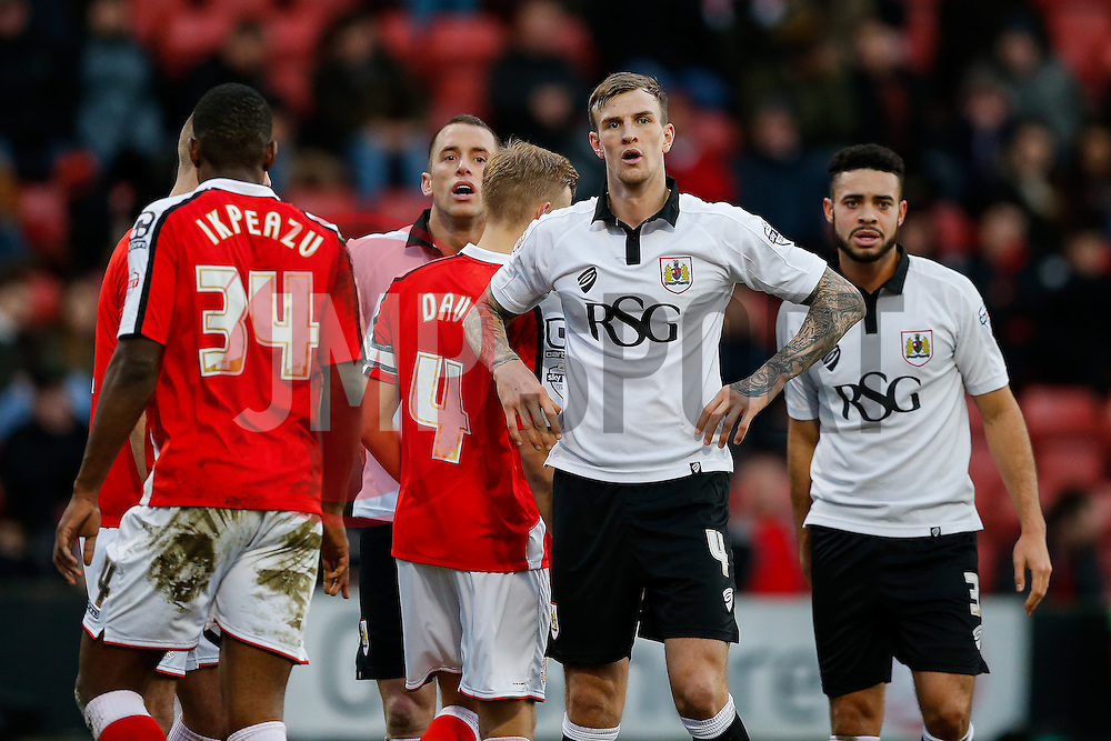 Aden Flint of Bristol City looks dejected after his shot hits the post - Photo mandatory by-line: Rogan Thomson/JMP - 07966 386802 - 20/12/2014 - SPORT - FOOTBALL - Crewe, England - Alexandra Stadium - Crewe Alexandra v Bristol City - Sky Bet League 1.