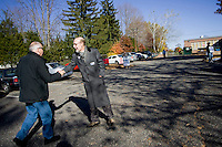 SOUTHINGTON, CT - 02 NOVEMBER 2010 -.State Senate candidate Joe Markley of the Tea Party greets voters at John F. Kennedy Middle School in Southington on Tuesday. Markley is running against Democrat John Barry..Photo by Josalee Thrift