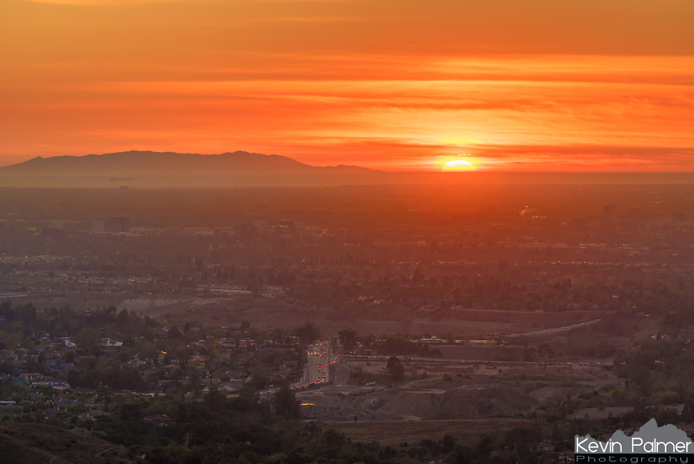 I hiked up to Robber's Roost in the Anaheim Hills to watch the sunset. I could see all the way to the Pacific Ocean and Santa Catalina Island.