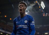 Football - 2019 / 2020 Premier League - Chelsea vs. Arsenal<br /> <br /> Callum Hudson-Odoi (Chelsea FC) celebrates after his team take the lead at Stamford Bridge <br /> <br /> COLORSPORT/DANIEL BEARHAM