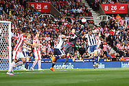 West Bromwich Albion Goalkeeper Boaz Myhill punches the ball clear. Barclays Premier League match, Stoke city v West Bromwich Albion at the Britannia stadium in Stoke on Trent, Staffs on Saturday 29th August 2015.<br /> pic by Chris Stading, Andrew Orchard sports photography.