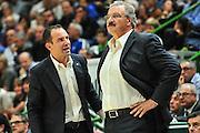 DESCRIZIONE : Campionato 2014/15 Dinamo Banco di Sardegna Sassari - Enel Brindisi<br /> GIOCATORE : Paolo Citrini Romeo Sacchetti<br /> CATEGORIA : Allenatore Coach<br /> SQUADRA : Dinamo Banco di Sardegna Sassari<br /> EVENTO : LegaBasket Serie A Beko 2014/2015<br /> GARA : Dinamo Banco di Sardegna Sassari - Enel Brindisi<br /> DATA : 27/10/2014<br /> SPORT : Pallacanestro <br /> AUTORE : Agenzia Ciamillo-Castoria / M.Turrini<br /> Galleria : LegaBasket Serie A Beko 2014/2015<br /> Fotonotizia : Campionato 2014/15 Dinamo Banco di Sardegna Sassari - Enel Brindisi<br /> Predefinita :