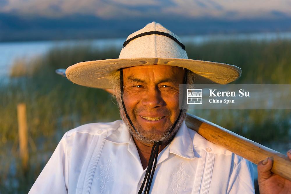 Mexican fisherman on Lake Patzcuaro, Michoacan, Mexico