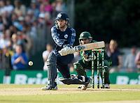 EDINBURGH, SCOTLAND - JUNE 12: Reverse sweep by Scotland new boy, Dylan Budge, in the first of 2 Twenty20 Internationals at the Grange Cricket Club on June 12, 2018 in Edinburgh, Scotland. (Photo by MB Media/Getty Images)