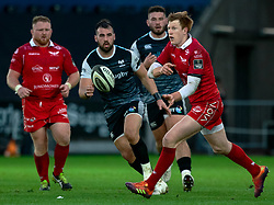 Rhys Patchell of Scarlets<br /> <br /> Photographer Simon King/Replay Images<br /> <br /> Guinness PRO14 Round 11 - Ospreys v Scarlets - Saturday 22nd December 2018 - Liberty Stadium - Swansea<br /> <br /> World Copyright © Replay Images . All rights reserved. info@replayimages.co.uk - http://replayimages.co.uk