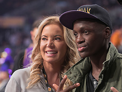 November 21, 2017 - Los Angeles, California, United States of America - Jeanie Buss owner of the Los Angeles Lakers takes a photo with a fan at the game against the Chicago Bulls on Tuesday November 21, 2017 at the Staples Center in Los Angeles, California. Lakers defeat Bulls, 103-94. JAVIER ROJAS/PI (Credit Image: © Prensa Internacional via ZUMA Wire)