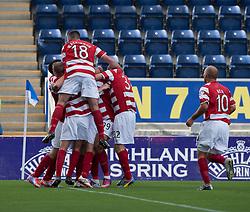 Hamilton's Alistair Crawford cele scoring their second goal.<br /> Falkirk 1 v 2 Hamilton, Scottish Championship 31/8/2013.<br /> ©Michael Schofield.