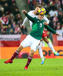 November 13, 2017 - Gdansk, Poland - Thiago Cionek (POL) vies Raul Jimenez (MEX)  during the International Friendly match between Poland and Mexico at Energa Stadium in Gdansk, Poland on November 13, 2017. (Credit Image: © Foto Olimpik/NurPhoto via ZUMA Press)