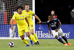 May 15, 2019 - Foxborough, MA, U.S. - FOXBOROUGH, MA - MAY 15: Chelsea FC defender Reece James (16) moves from New England Revolution forward Cristian Penilla (70) during the Final Whistle on Hate match between the New England Revolution and Chelsea Football Club on May 15, 2019, at Gillette Stadium in Foxborough, Massachusetts. (Photo by Fred Kfoury III/Icon Sportswire) (Credit Image: © Fred Kfoury Iii/Icon SMI via ZUMA Press)